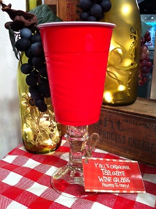 Red Solo Tailgate Wine Glass!  Add some class to your next tailgate party or backyard barbecue with these Redneck Red Solo plastic wine glasses!