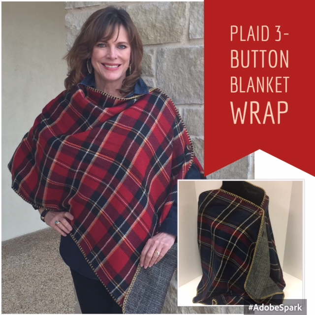 Plaid Reversible 3-Button Wrap