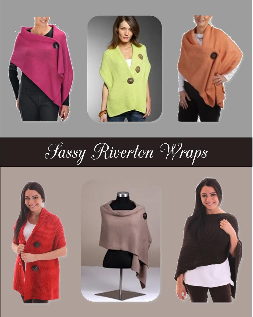 Riverton Sweater Wraps in multiple colors and either flat weave or cable design.